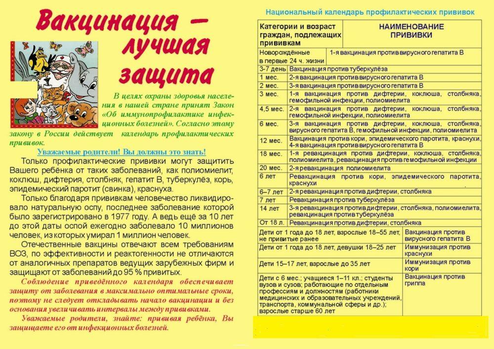 памятка по иммунизации